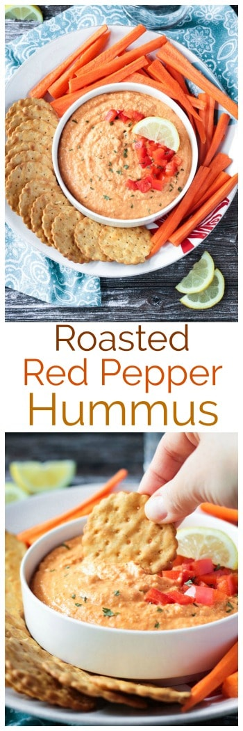 Roasted Red Pepper Hummus - creamy, smooth, and flavorful, this easy hummus recipe will become your go-to for snack time. Pair it with crunchy raw veggies, whole grain crackers, or spread it on toast.Kid-friendly, gluten free, and vegan! #snack #appetizer #hummus #dairyfree #vegan #glutenfree #oilfree #quickandeasy
