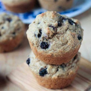 stack of 2 blueberry muffins