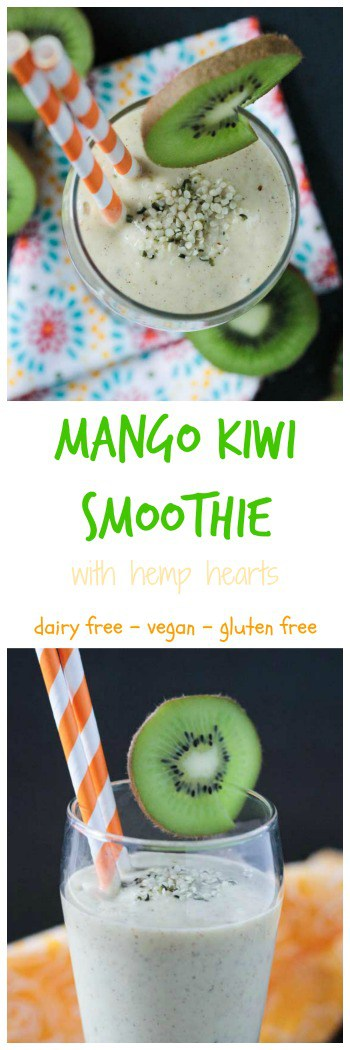 Mango Kiwi Smoothie with Hemp Hearts - A tropical twist on a creamy smoothie. Sweetened only with fruit. Loaded with vitamin C, a good amount of protein and healthy fats. #dairyfree #vegan #smoothie #breakfast #glutenfree