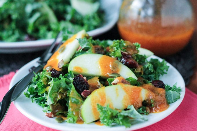 Autumn Kale Salad with Warm Pumpkin Vinaigrette
