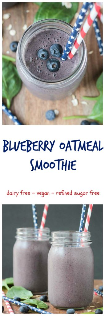 Blueberry Oatmeal Smoothie - all the fiber and staying power of a bowl of oatmeal in an easy portable, drinkable form. Bonus - there's greens in there!!! Shhhh, don't tell the kids!