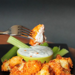 Buffalo Cauliflower Bites and Cheater Vegan Ranch Dip