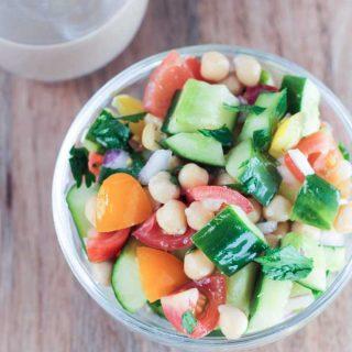 Cucumber Chickpea Salad w/ Tahini Dressing