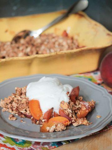 Warm Peach Crisp w/ Maple Coconut Whip