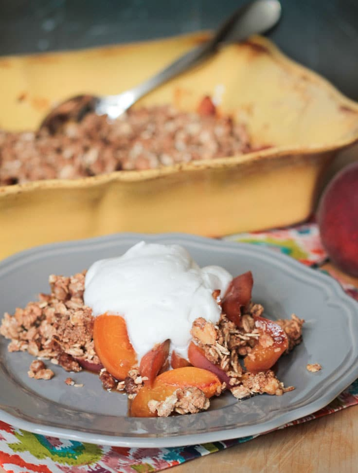 Warm Peach Crisp w/ Maple Coconut Whip