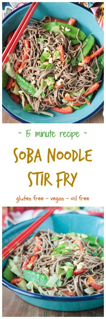 Soba Noodle Stir Fry - vegan | gluten free | dairy free | oil free | quick and easy | weeknight dinner | meatless | vegetarian | 15 minute recipe | soba noodles | snow peas | red peppers