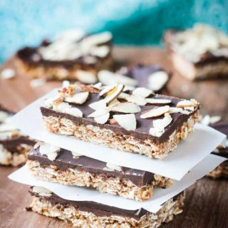 Triple Almond Oat Bars (Gluten Free, Oil Free)