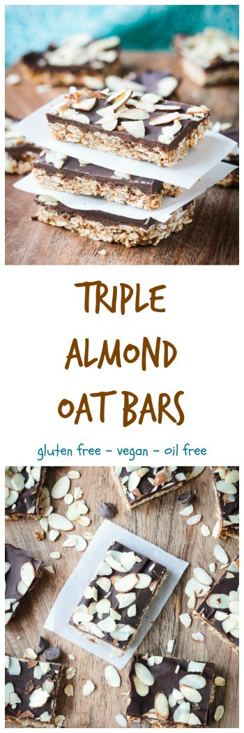 Triple Almond Oat Bars - Whole grain oats and almonds come together to create a delicious chewy snack bar. Almond butter, almond milk, almond extract, and even optional slivered almonds bring big flavor in these healthy little snack bars. Coat it in a layer of chocolate for an even more indulgent treat. Dairy free, gluten free, vegan.
