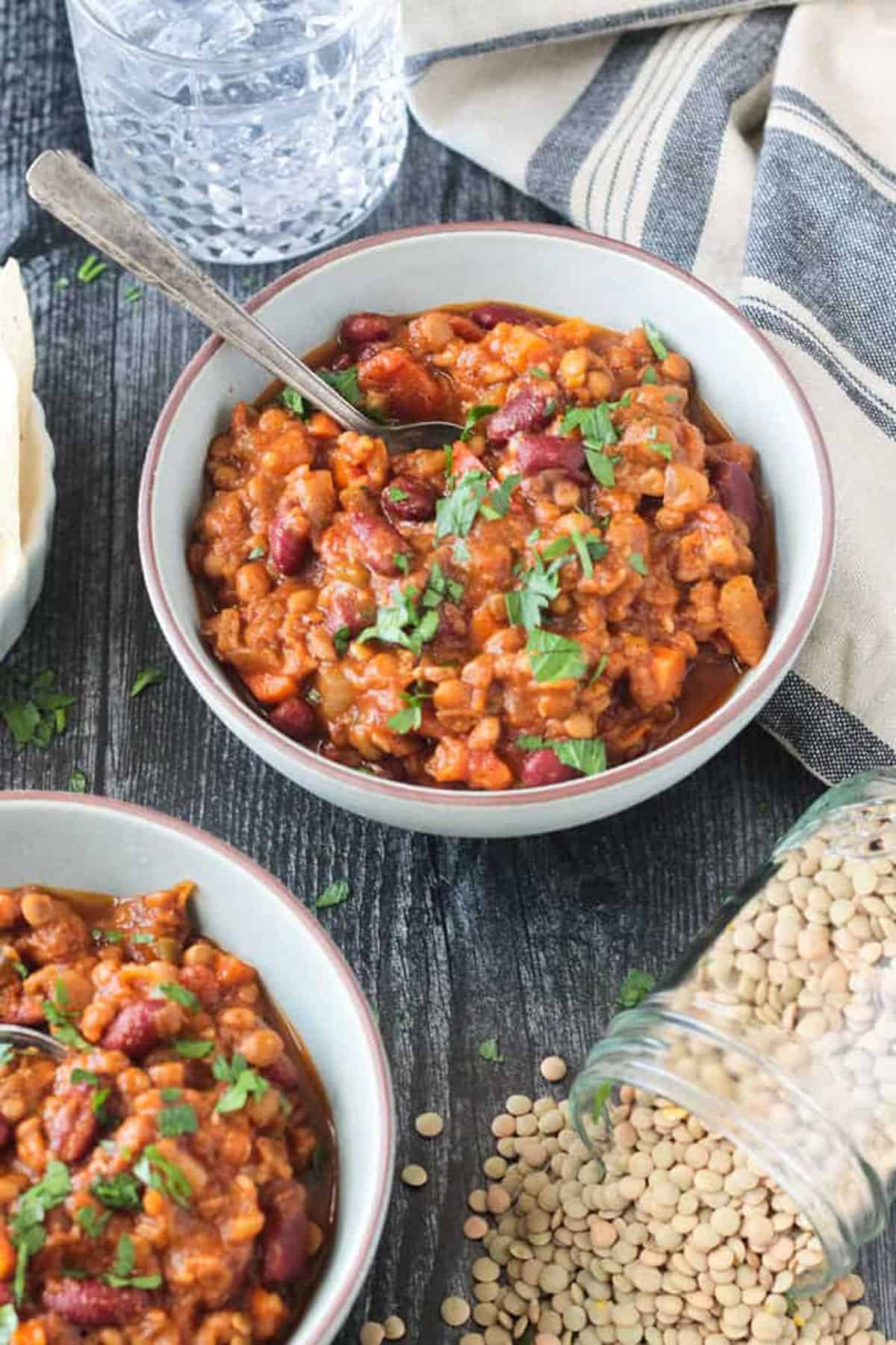 Hearty chili topped with kidney beans and chopped cilantro.