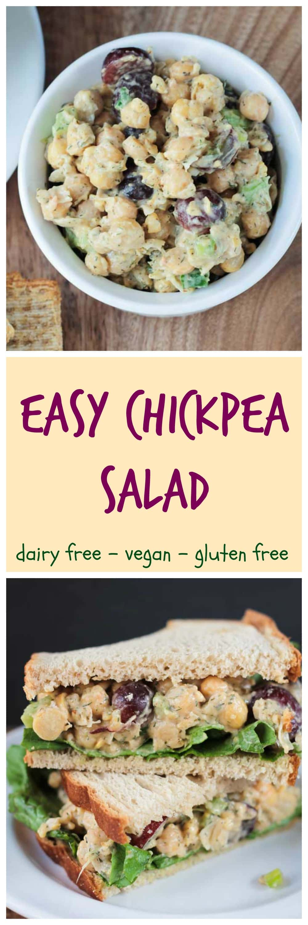 Chickpea Salad - quick and easy | vegan | dairy free | gluten free | sandwich filling | chicken salad | picnic | party | potluck | lunch | lunchbox | grapes | celery |