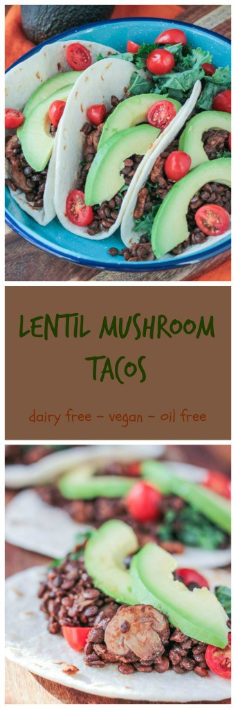 "Lentil Mushroom Tacos - a ""meaty"" #vegan version of everyone's favorite - #tacos!"
