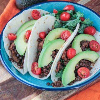 plate of lentil mushrooms tacos