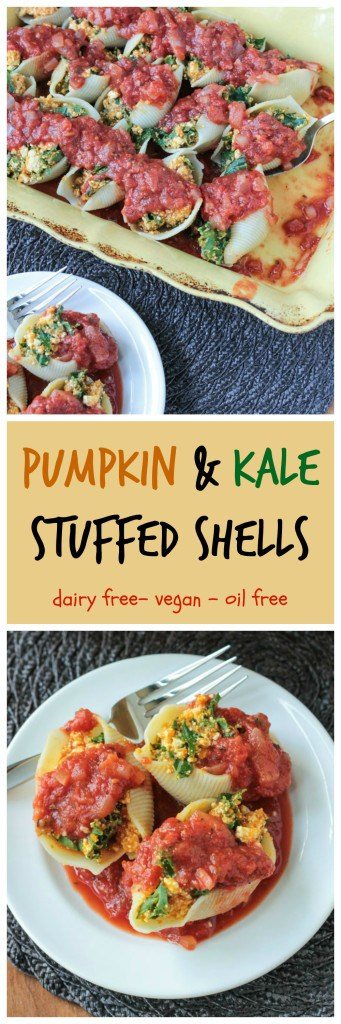 Pumpkin & Kale Stuffed Shells - a delicious #dairyfree dish with a fall twist that's perfect for anytime of year!