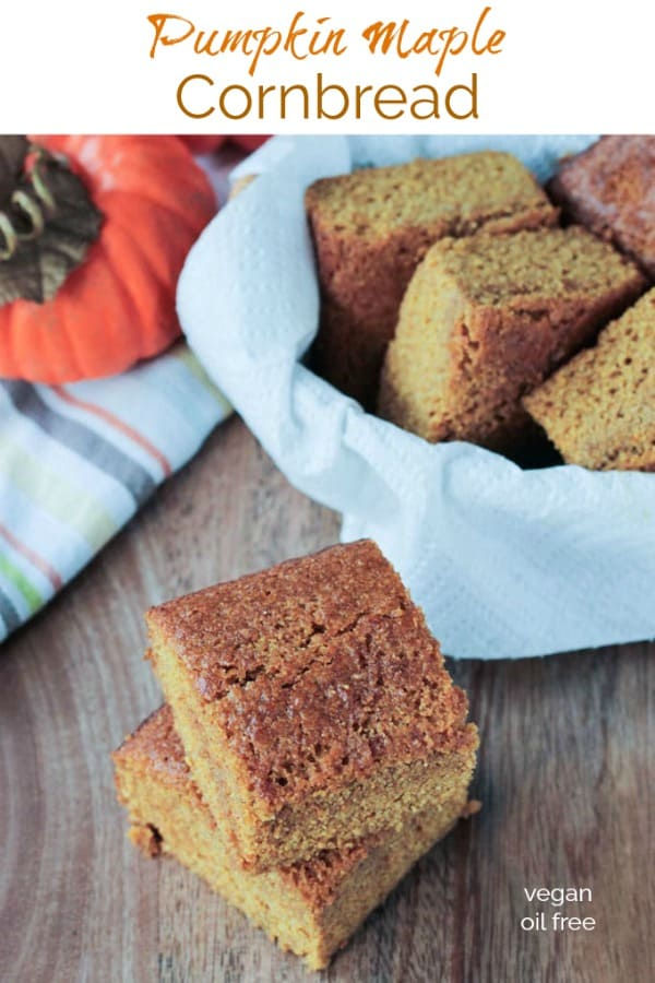 Pumpkin Maple Cornbread - a little sweet and super moist. Tastes almost more like cake than cornbread. Perfect for Thanksgiving or next to a bowl of soup or chili! It even makes a great snack. Can easily be made into muffins. Vegan and oil free! #cornbread #pumpkin #maple #thanksgiving #autumn #fall #oilfree #dairyfree #vegan #halloween