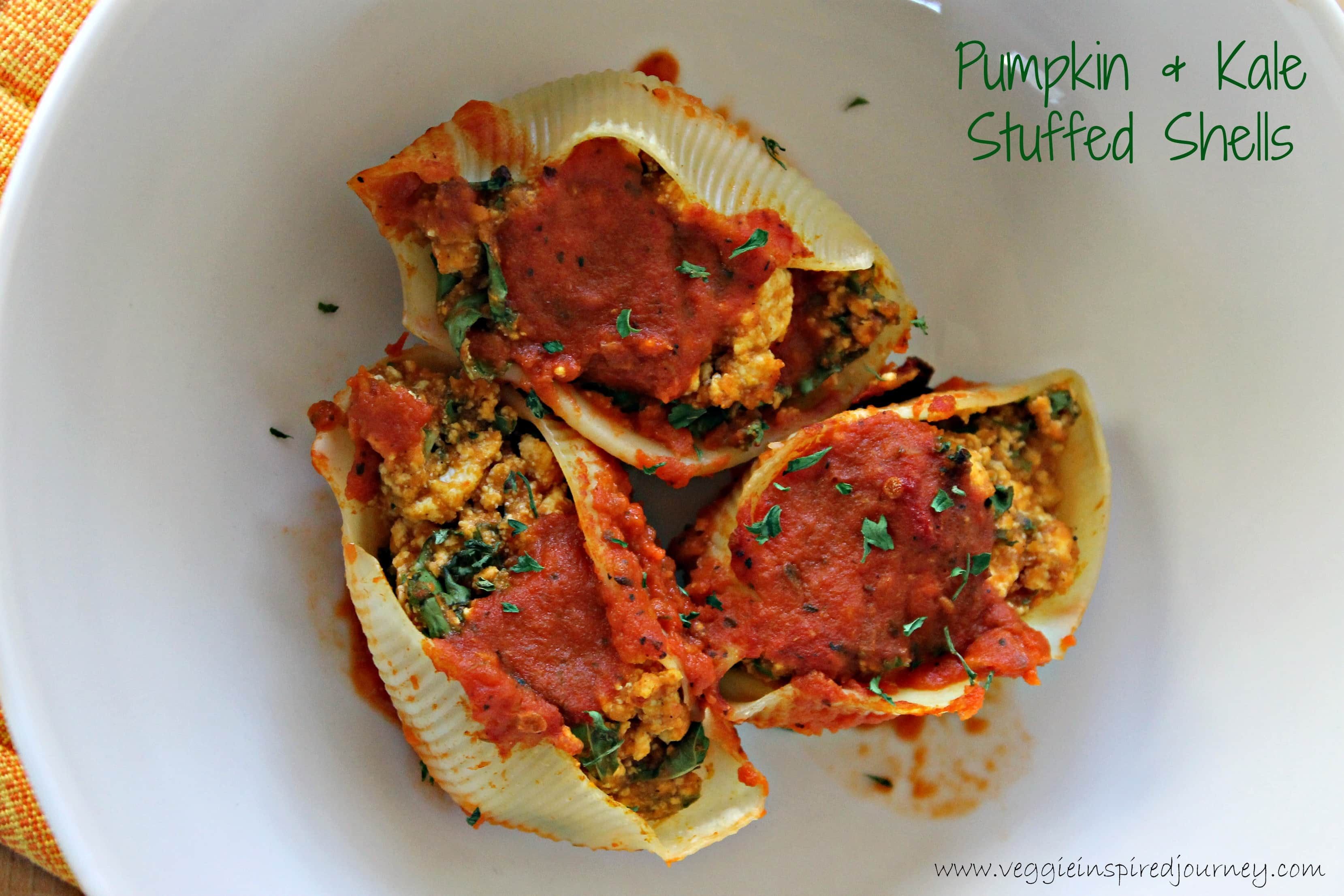 Pumpkin and Kale Stuffed Shells ~ Veggie Inspired