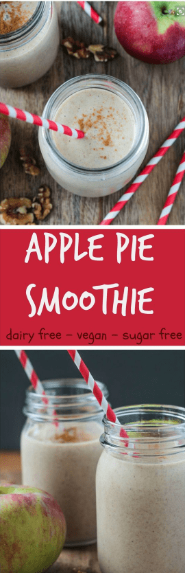 Dairy Free Apple Pie Smoothie - delicious fall flavors in a quick and easy sip. Made with healthy ingredients like apples, walnuts, and flax seeds for a breakfast or snack you can feel good about. #dairyfree #smoothie #breakfast #snack #drink #apples #applepie #healthy #quickandeasy #vegan #kidfriendly