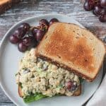 Overhead view of creamy chickpea salad on toast.