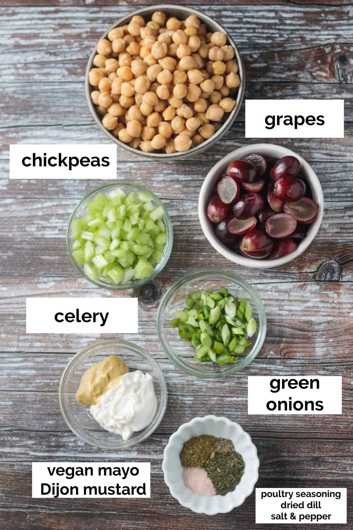 Recipe ingredients arrayed in individual bowls.