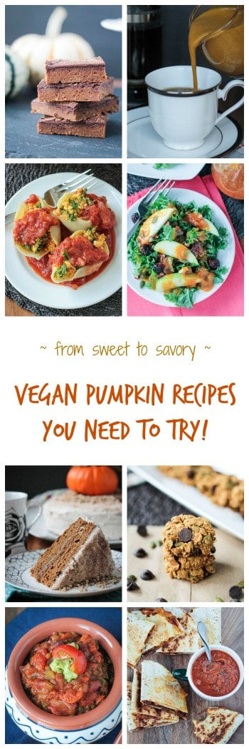 Vegan Pumpkin Recipes - from sweet to savory, breakfast to dessert, and everything in between, you are going to LOVE these pumpkin recipes. Healthy dairy free recipes to satisfy your cravings for all things pumpkin during the fall season. Many are gluten free as well.  #pumpkin #vegan #dairyfree