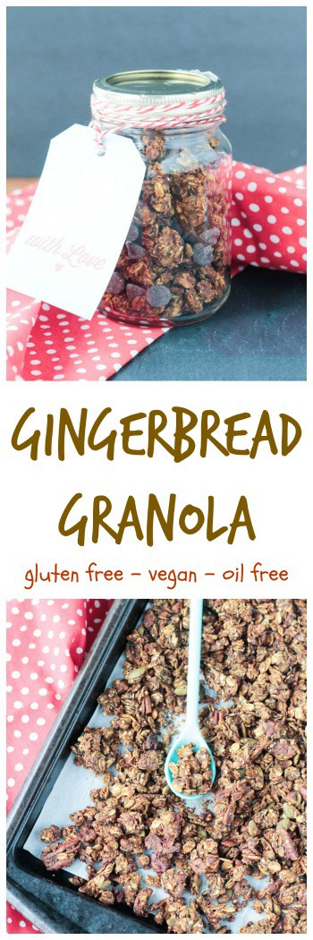 Gingerbread Granola - crunchy gluten free granola clusters in festive holiday flavors. The perfect breakfast, snack or edible gift.