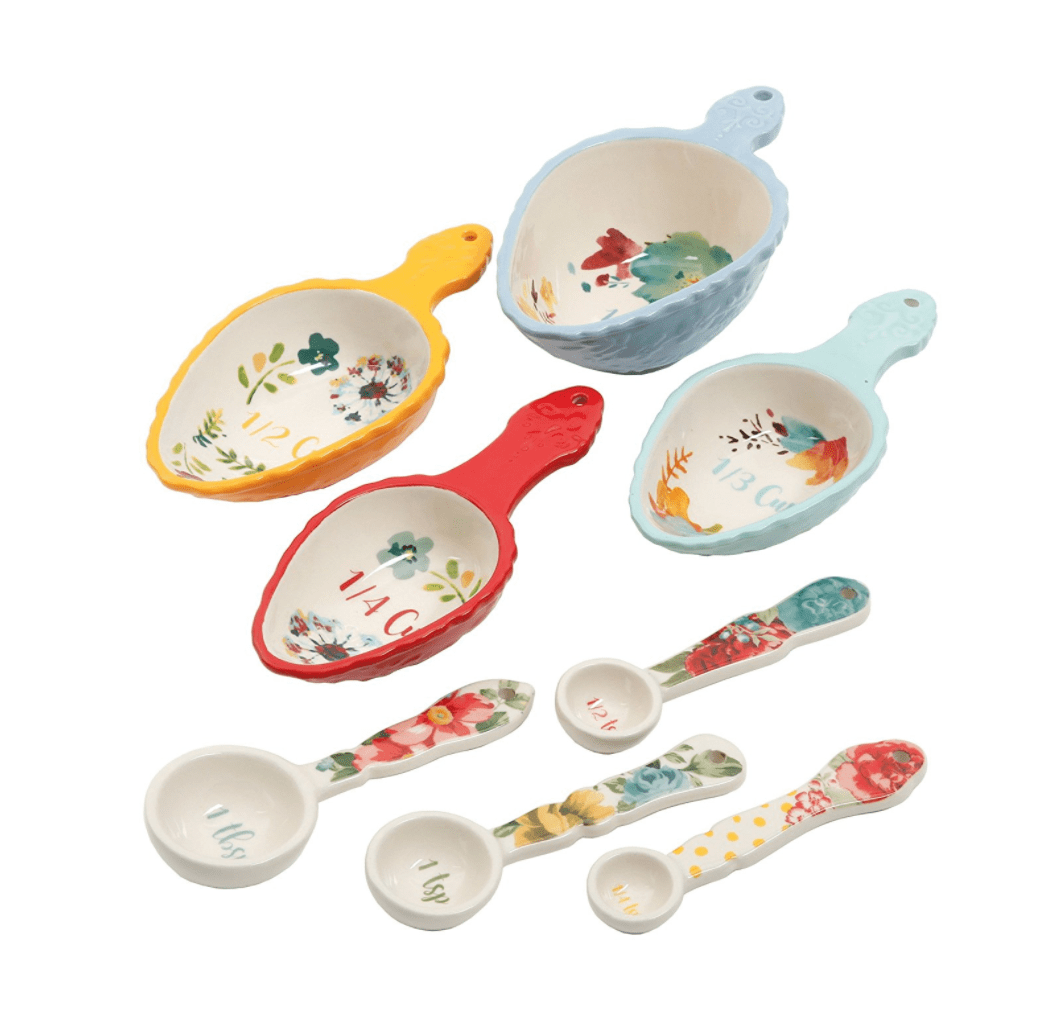 Plant Based Kitchen Essentials List: 8 Piece Set of Floral Measuring Cups & Spoons