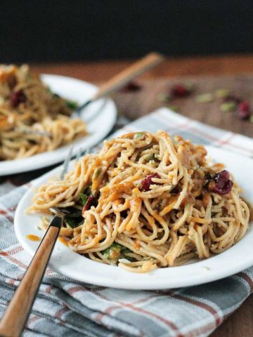 Spaghetti with Spinach & Cranberries in a Pumpkin Maple Glaze