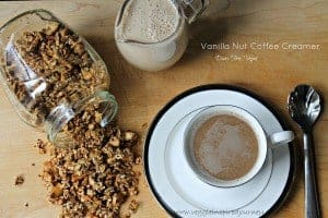 cup of coffee next to a jar of granola