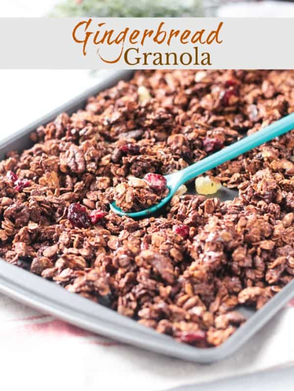 Crunchy Gingerbread Gluten Free Granola - loaded with wholesome oats, pecans, pumpkin seeds, dried cranberries, crystalized ginger, chocolate chips, and cozy gingerbread spices. The perfect winter holiday breakfast, snack, or even dessert. It's great over dairy free yogurt with fresh sliced pears or even simpler with just a splash of dairy free milk. #granola #gingerbread #vegan #glutenfree #breakfast #snack