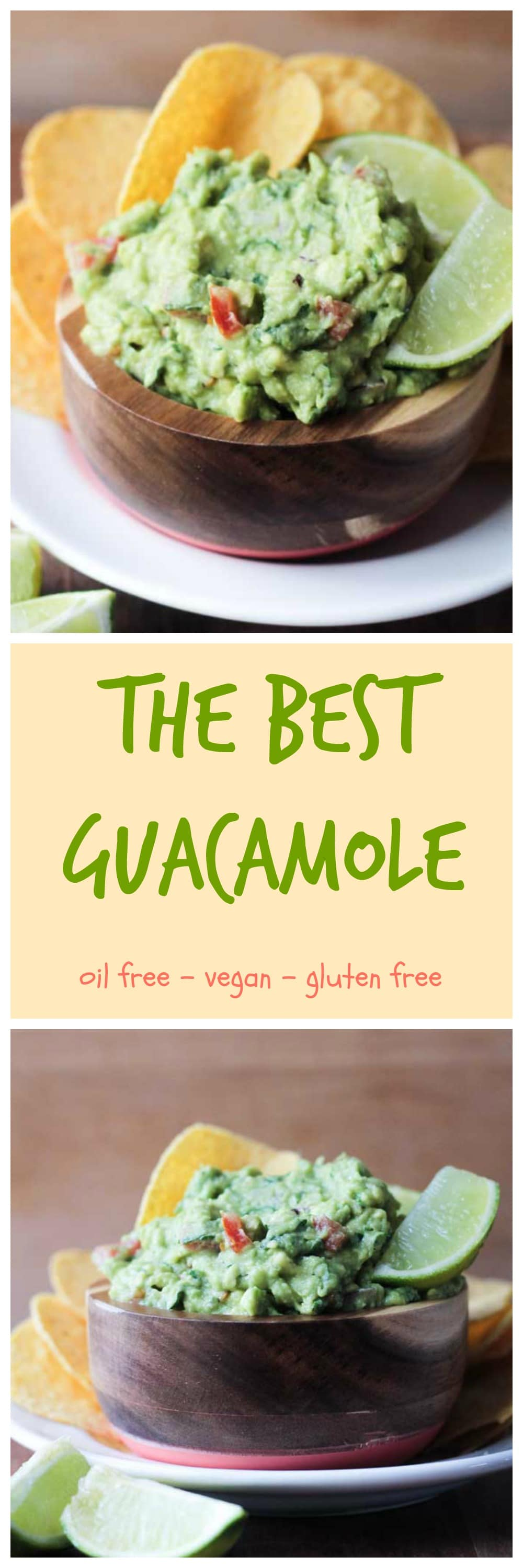 The Best Guacamole - super quick and easy and loaded with nutrients from avocado, tomato, red onion, cilatnro, jalapeño, and limes. Grab some chips and dig in for a healthy snack! #vegan #avocado #guacamole #appetizer #dairyfree