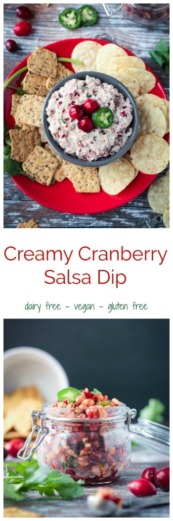 Creamy Cranberry Salsa Dip - creamy, tangy, sweet and spicy. This cranberry salsa dip is the perfect snack for your next holiday party. So easy to make! #vegan #glutenfree #cranberries #salsa #Christmas #appetizer #dip #party #holiday