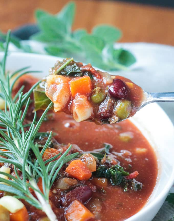 Spoonful of minestrone soup
