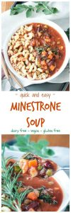 Easy Vegetarian Minestrone Soup w/ Pasta & Kale - a quick and easy veggie loaded soup made with pantry and freezer staples. Perfect for a weeknight - one your table in just about 30 minutes. A kid friendly meatless meal the whole family will love. #vegan #veggieinspired #soup #meatlessmonday #vegetarian