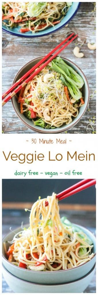 Veggie Lo Mein - a quick and easy stir-fry, easily customizable to your tastes. Switch out any of the veggies for ones you love best. Long noodles, like lo mein, are said to represent longevity in the new year, so this easy 30 minute meal is perfect for New Year's Day as well as any weeknight dinner. #vegan #vegetarian #pasta #stirfry #quickandeasy #30minutemeal #dairyfree
