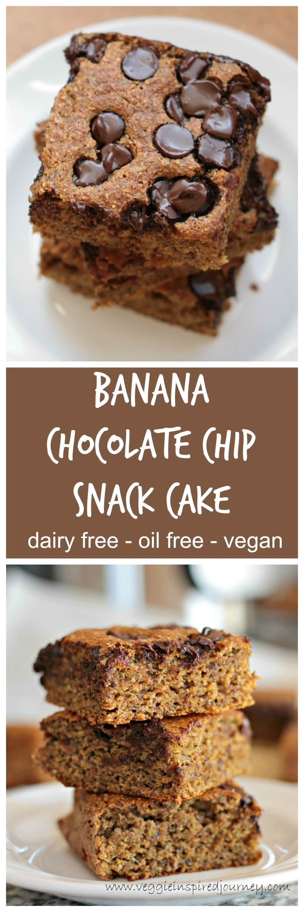 Banana Chocolate Chip Snack Cake - A cross between a quick bread and a cake and full of chocolate chips! Made with healthy whole wheat flour, it's also dairy free, egg free, and vegan. It's a favorite among kids! #dairyfree #snack #cake #vegan #chocolatechips #wholewheat #dessert