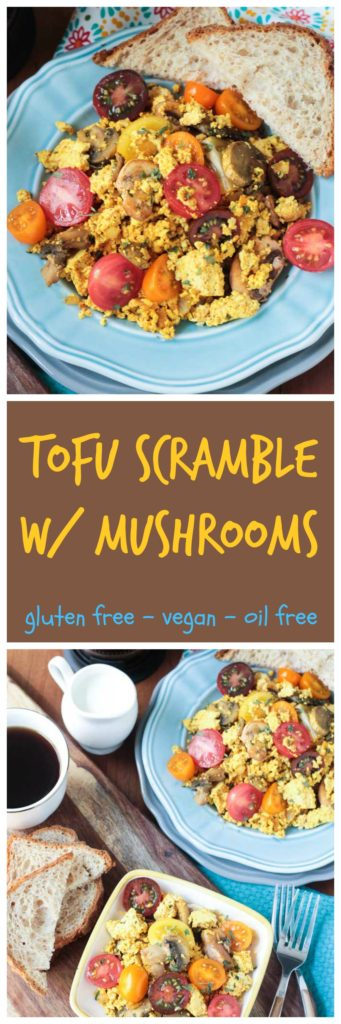 Easy Tofu Scramble w/ Mushrooms - Breakfast is said to be the most important meal of the day, so load up on this protein packed, plant based breakfast! Lots of spices here means no boring tofu!! You could even add some jalapeño or salsa for a kick if you like!