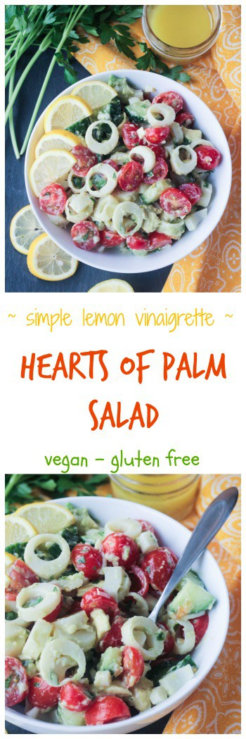 Hearts of Palm Salad - vegan | gluten free | lunch | dinner | appetizer | clean eating | nut free | whole foods | easy | lemon vinaigrette