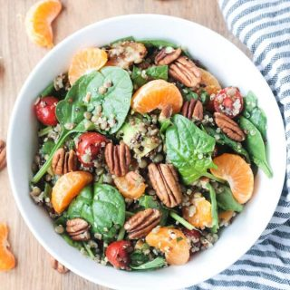 Lentil Quinoa Salad with Spinach and Citrus