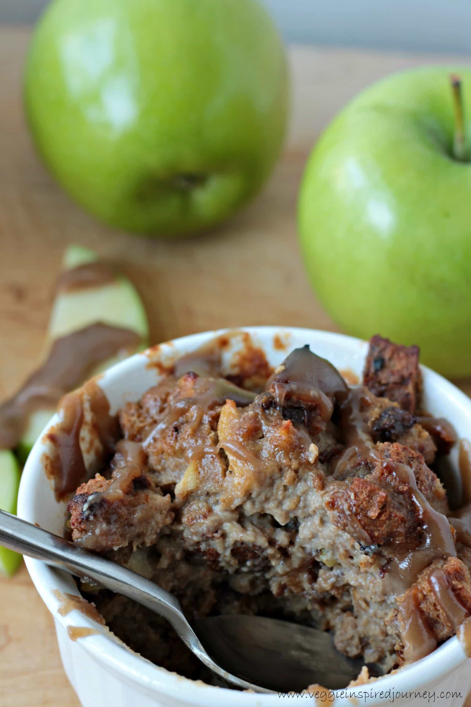 Apple Cinnamon Bread Pudding with Salted Caramel Sauce ~ Veggie ...