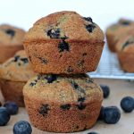 blueberry muffins stacked up
