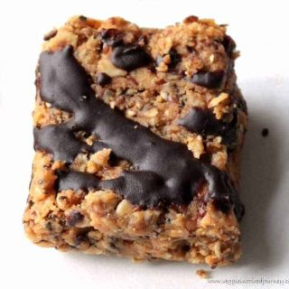 oatmeal bar drizzled with chocolate