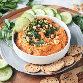 Roasted Carrot White Bean Hummus in a white bowl