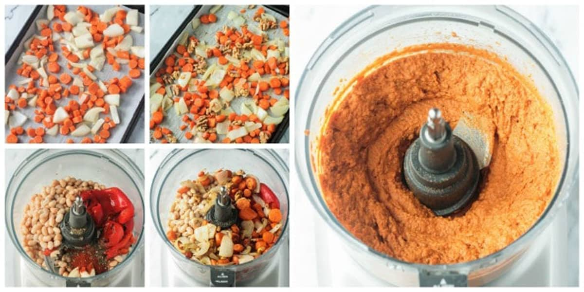 5 photo collage showing how to make navy bean hummus.