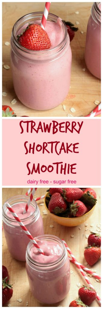 Strawberry Shortcake Smoothie - This dairy free smoothie tastes like a decadent milkshake, but is healthy enough for breakfast!. Fruit sweetened - no sugar added! Grab a straw and enjoy!