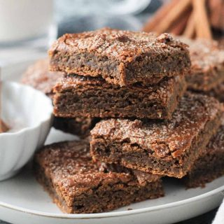 stack of 4 cinnamon blondies on a plate