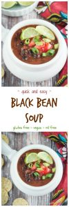 Easy Black Bean Soup - made with pantry ingredients and ready in just 30 minutes. This cozy meatless soup is hearty and delicious and sure to become a family favorite. My kids love it with macaroni noodles. #vegan #glutenfree #soup