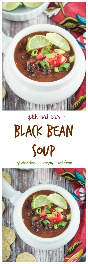 Easy Black Bean Soup - made with pantry ingredients and ready in just 30 minutes. This cozy  meatless soup is hearty and delicious and sure to become a family favorite. My kids love it with macaroni noodles. #vegan #glutenfree #soup #blackbeans
