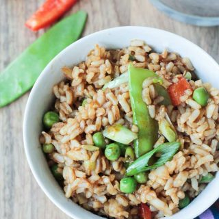 Easy Vegetable Fried Rice (Gluten Free, Oil Free)