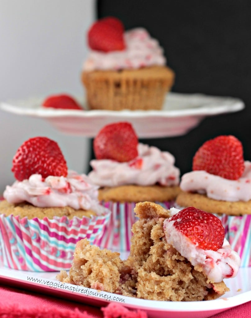 Fresh Strawberry Cupcakes w/ Dairy Free Strawberry Coconut Frosting