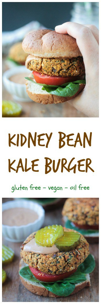 BBQ Kidney Bean Kale Burger - these delicious hearty veggie burgers hold together perfectly and are baked, not fried. Oil free, gluten free, and vegan!