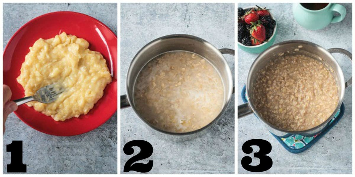3 photo collage of smashing bananas and adding them to a pot with oats.